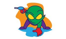 Alien bring a gun stock illustration