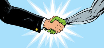 Alien Businessman Handshake Royalty Free Stock Photo