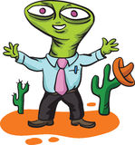 Alien businessman in mexican landscape Stock Photos
