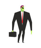 Alien businessman. UFO boss. Martian in business suit. Alien and Royalty Free Stock Photos