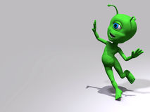 Alien - carefree. Little green alien in a white background Royalty Free Stock Photo
