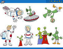 Alien cartoon characters set Royalty Free Stock Images