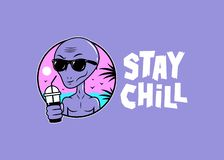 ALIEN CARTOON WITH COCKTAIL STAY CHILL COLOR royalty free illustration