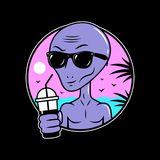 ALIEN CARTOON WITH COCKTAIL SUMMER CHILL OUT royalty free illustration