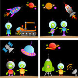 Alien cartoon set stock illustration