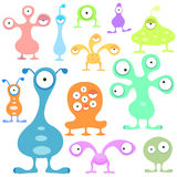 Alien cartoons vector set Stock Images