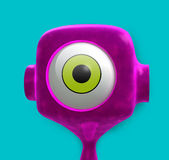 Alien Character. A 3D purplish alien character very funny and one eyed green as well placed on a fresh aqua colored background Stock Image
