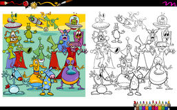 Alien characters coloring page Royalty Free Stock Images