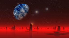 Alien city and the big moon stock footage