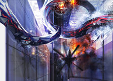 Alien city destruction. Upper helicopter city view with an alien destructing a buildings Stock Images