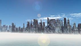 Alien City - fantasy urban structures 3d render Stock Photo
