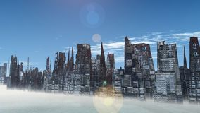 Alien City - fantasy urban structures 3d render Royalty Free Stock Photos