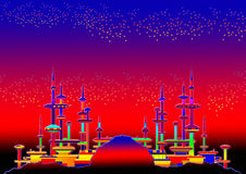 Alien city in graphic Stock Image