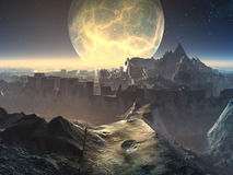 Alien City Ruins by Moonlight. Ancient alien city ruins with huge golden moon behind bathing the scene in moonlight Royalty Free Stock Image