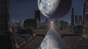 Alien city, sunrise and huge planet stock video