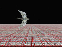 Alien Civilization. Computer generated 3D illustration with Alien Spaceship and Alien Civilization Stock Photography