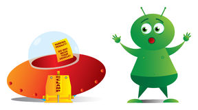 Alien and clamped saucer EPS10 Royalty Free Stock Photo