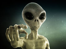 Alien. Close up with an alien pointing; 3d illustration Royalty Free Stock Image
