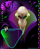 Alien club flyer. Party club invitation flyer with cool Alien discjokcey and eletric triangle sign Royalty Free Stock Images