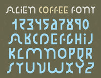 Alien Coffee font. Alien Coffee decorative font for logo use, with grunge texture in the background royalty free illustration