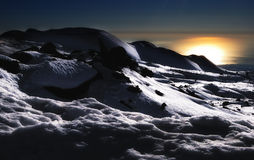 Alien country. Sunrise view of snow-covered Etna Royalty Free Stock Photo