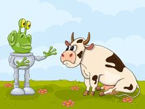 Alien and cow meeting Royalty Free Stock Images
