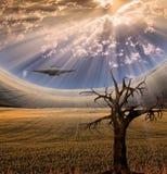 Alien craft in landscape Stock Photos