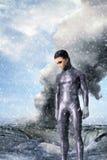 Alien and crashed ufo Stock Image