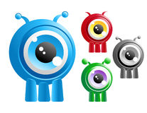 Alien Creature Cartoon Character. Choose from four different alien creature critters with one big eye in the center of their head. They have three legs Royalty Free Stock Images