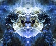 An alien creature resembling a ram, in blue tones. Ink and paint in the water. A reflected image of a bag under water royalty free illustration
