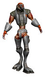 Alien creature in steel armor. 3D render of an alien creature in steel armor stock illustration