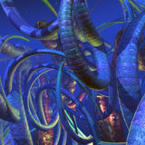 Alien creatures and plants on an unknown planet. 3d illustration royalty free illustration