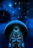 Alien cyborg in a dark sky, in the background a planet, a nebula and many bright stars, 3d illustration. Graphic design cover magazine book concept multi vector illustration