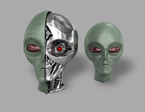 Alien cyborg 7. Two heads of extraterrestrial cyborg with a metal skeleton dissected. On a gray background Royalty Free Stock Images