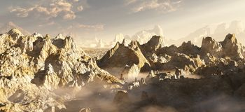 Alien Desert Canyon in the Clouds. Rocky desert canyon landscape on an alien planet, 3d digitally rendered illustration royalty free illustration