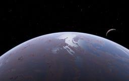 Alien Desert Exo Planet. Far away in deep space Royalty Free Stock Image