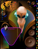 Alien design club flyer. Party club invitation flyer with cool Alien disc-jockey and eletric triangle sign Stock Photo