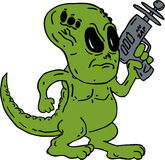 Alien Dinosaur Holding Ray Gun Cartoon. Illustration of a green Alien looking dinosaur holding a ray gun on isolated background done in cartoon style Royalty Free Stock Photo