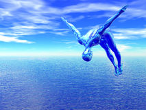 Alien diver over blue ocean Stock Photo