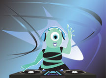 Alien DJ. And futuristic background Royalty Free Stock Photography