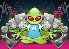Alien DJ. Mixing Music Using Record Decks With Speakers In Background Royalty Free Stock Photos