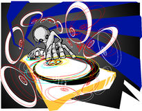 Alien DJ. Disco party and the deejay is the alien royalty free illustration