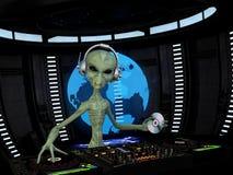 Alien DJ stock illustration