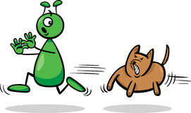 Alien and dog cartoon illustration. Cartoon Illustration of Funny Alien or Martian Comic Character Running Away form Dog Royalty Free Stock Photo