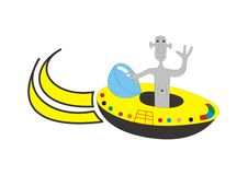Alien driving. Grey alien driving a flying saucer Royalty Free Stock Photos
