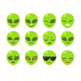 Alien emoticon set. Set of alien emoji icons. Cute cartoon emoticons vector illustration Stock Photos