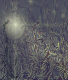 Alien enviroment. Twisted plants tangled on a alien planet with single light source stock illustration