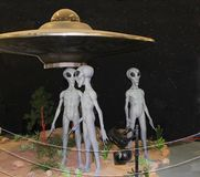 Alien exhibit at International UFO Museum and Research Center in Roswell. ROSWELL, NEW MEXICO - OCTOBER 06 2013: Alien Exhibit Display at the International UFO Stock Photos