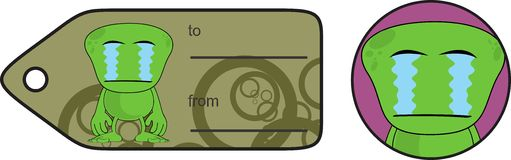 Alien expression cartoon giftcard crying Royalty Free Stock Image