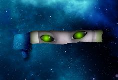 Alien eyes spying behind hole ripped curl piece universe. Alien eyes spying behind hole ripped curl piece of universe stock illustration